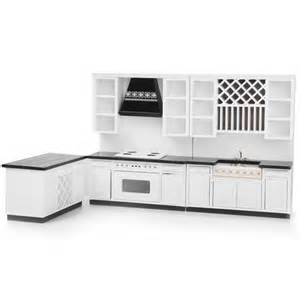 White Dollhouse Bookcase by 1 12 Miniature Modern Kitchen Delxue Cabinet Set Kit For