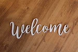 Welcome, Sign, Wooden, Words, Laser, Cut, Out, Wood, Cut, Out, Script, Word, Foyer, Sign, Custom, Word, Art
