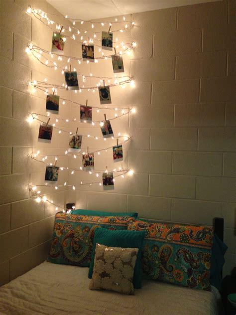 white string lights  bedroom
