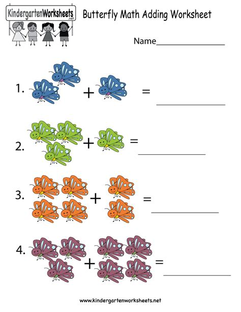 butterfly math worksheets for kindergarten butterfly math adding worksheet free kindergarten