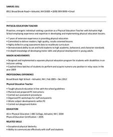 Physical Education Resume Exle by Free Resume 40 Free Word Pdf Documents