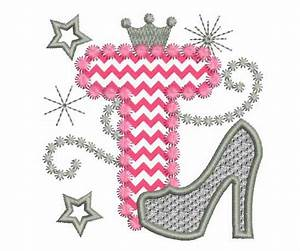 Pink Silver Letter T High Heel Shoe for Cute Girls Applique