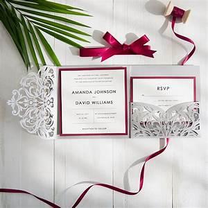 burgundy and gray elegant laser cut pocket wedding With burgundy beach wedding invitations