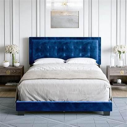 Bed Platform Velvet Upholstered Frame Queen Walmart