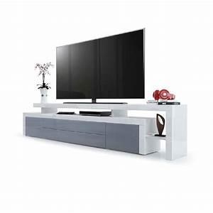 Meuble Gris Laqué : meuble tv blanc et gris laqu id es de d coration int rieure french decor ~ Nature-et-papiers.com Idées de Décoration