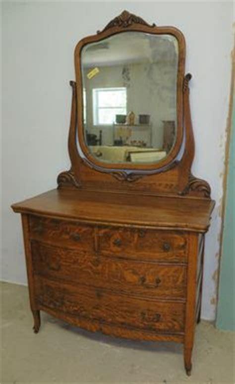 Tiger Oak Dresser Beveled Mirror by Antique Serpentine Tiger Oak Dresser With Beveled Mirror