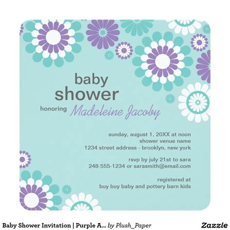 Purple Baby Shower Invitations by 37 Best Images About Purple And Aqua Baby Shower On