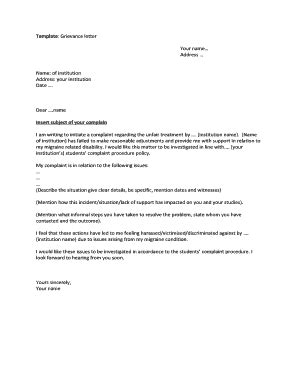 Editable letter of complaint to employer unfair treatment