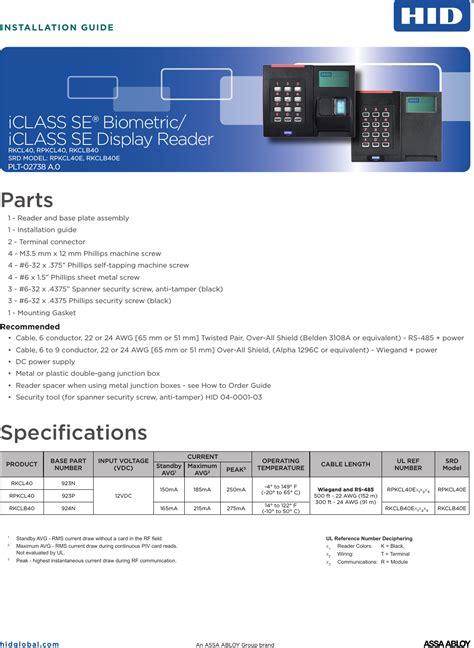 rkclb40e iclass reader user manual installation guide hid global