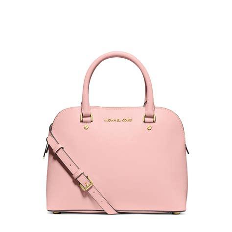michael kors cindy medium saffiano leather satchel  pink