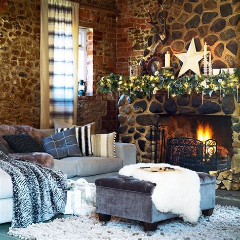 country homes and interiors christmas add faux furs for a laid back look country christmas living room ideas housetohome co uk