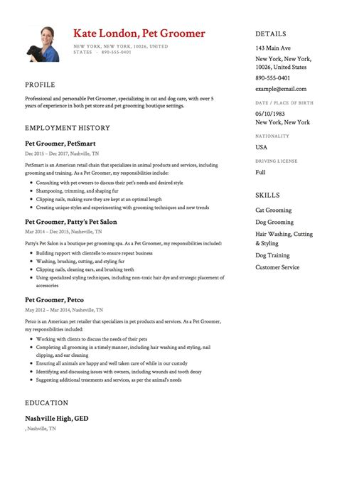 Resume Temple by 12 X Pet Groomer Resume Templates Resumeviking