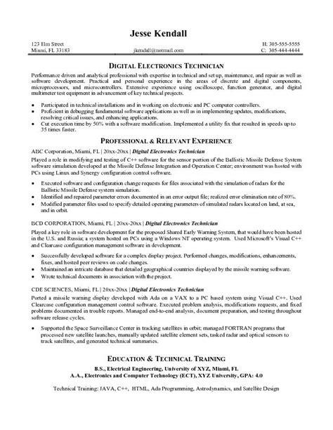 Resume Career Objective In Electronics Technician – Job