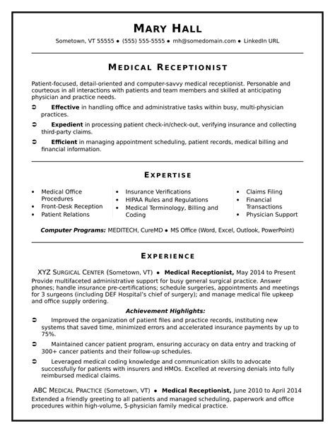 Medical Receptionist Resume Sample  Monstercom. Donation Thank You Letter Template Word. Sample Application For Employment In A Hotel. Resume Template Creator Online. Professional Cover Letter Template Free. Ken Mcelroy Sample Letter Of Intent. Cover Letter Job Application Doc. Resume Guide. Cover Letter Address Format