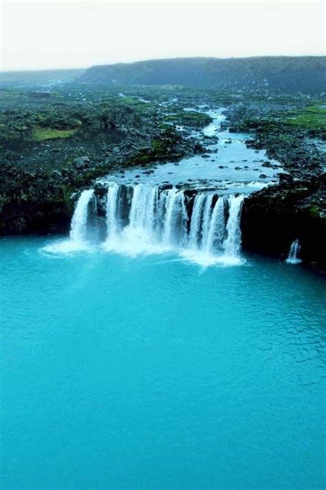 Turquoise Waterfall Iceland Waterfall Scenery