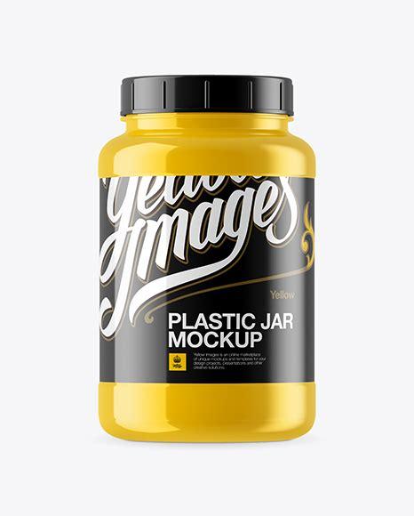 Plastic protein jar mockup 3l. Glossy Plastic Protein Jar Mockup in Jar Mockups on Yellow ...