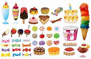 Dessert and sweet food set on white Vector | Premium Download