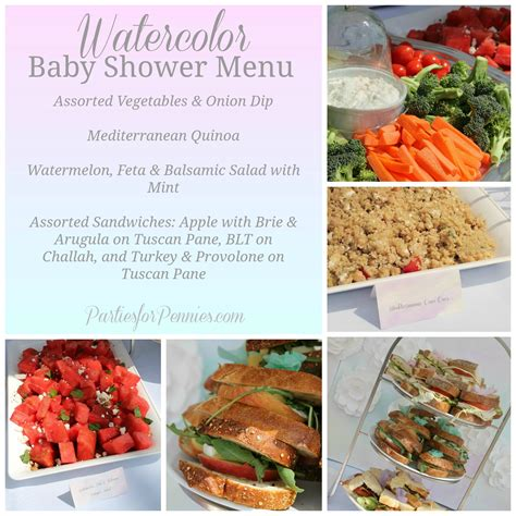 baby shower food menu watercolor baby shower menu by partiesforpennies com baby shower ideas pinterest baby
