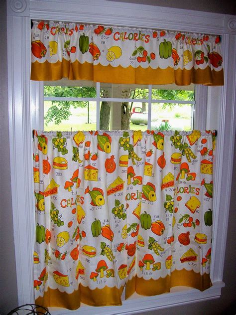 vintage curtains kitchen retro fish mushrooms food orange
