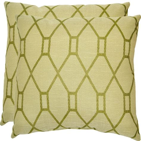 home depot green bay hampton bay green trellis outdoor throw pillow 2 pack