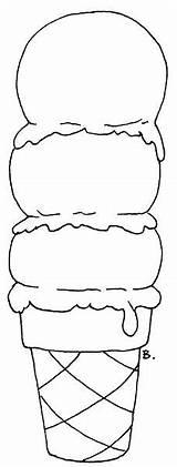 Ice Cream Icecream Cones Blank Cone Printable Template Coloring Scoop Bookmarks sketch template