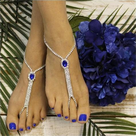 bridesmaid barefoot sandals sapphire blue blue wedding