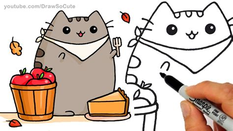 draw autumn pusheen cat eating pie step  step
