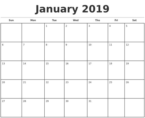 Monthly Calendar Template 2019 Monthly Calendar Template 2018 Calendar With Holidays