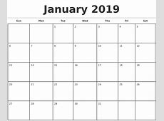 Blank Monthly Calendar 2019 – printable calendar templates