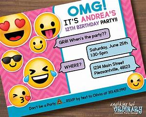 Printable Emoji Birthday Party Invite Girl's Emoji