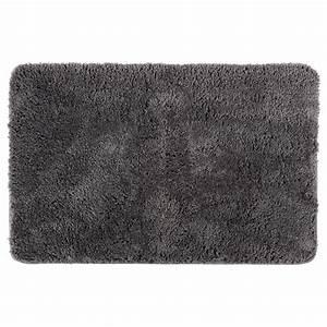 tapis microfibre salle de bain 60x90cm gris With tapis de bain microfibre