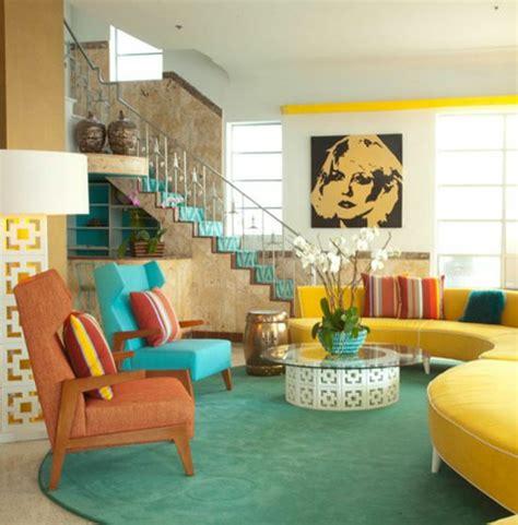 papier peint multicolore chambre déco salon bleu et jaune exemples d 39 aménagements