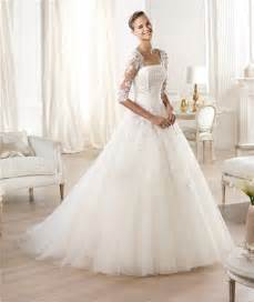 pronovias brautkleider princess a line strapless backless three quarter sleeve lace tulle wedding dress