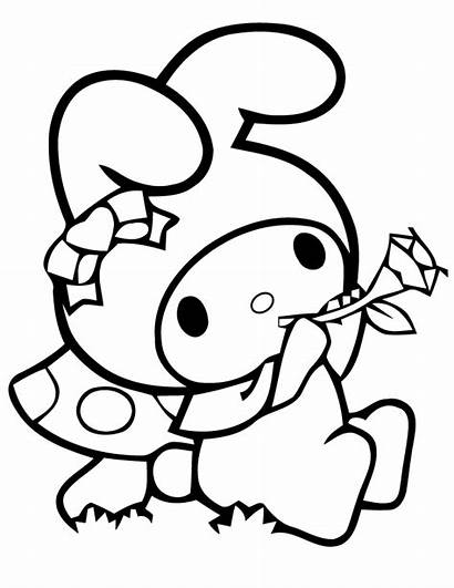 Coloring Melody Pages Kuromi Printable Flower Colouring