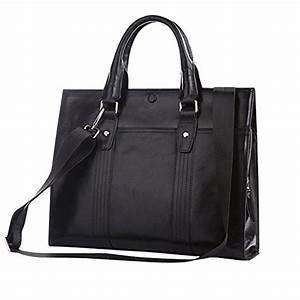Black Slim Leather Briefcase for Women - Twisted Leather ...