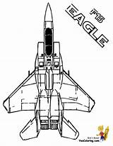 Coloring Airplane Pages Military Air Eagle Force Yescoloring Jet Fighter Airplanes Jets F15 Mighty Space Halo Army Aircraft Tomcat Forces sketch template