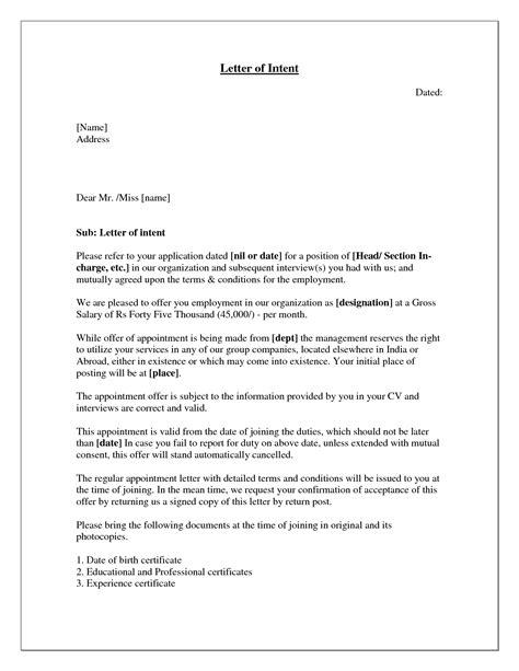 write  letter  intent   job application