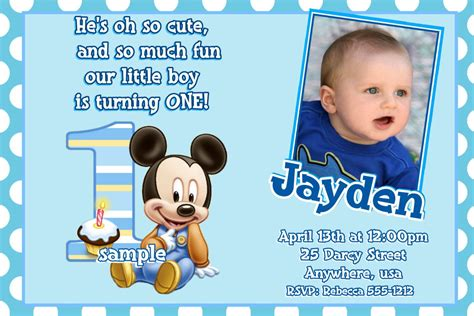 mickey mouse st birthday invitations baby mickey mouse
