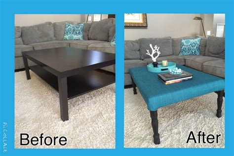 """The most challenging part of the hack was getting the right color on the table top. even though it is a simple modification, he loves that it gives a. IKEA """"Lack"""" coffee table, re-purposed as an ottoman with a padded, upholstered top and new legs ..."""