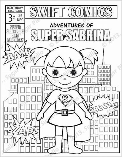 Coloring Comic Printable Superhero Personalized Pages Activity