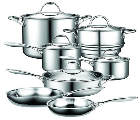 stainless steel cookware cooks standard gas nc induction multi clad ply sets piece amazon cooking stoves stove glass electric metal