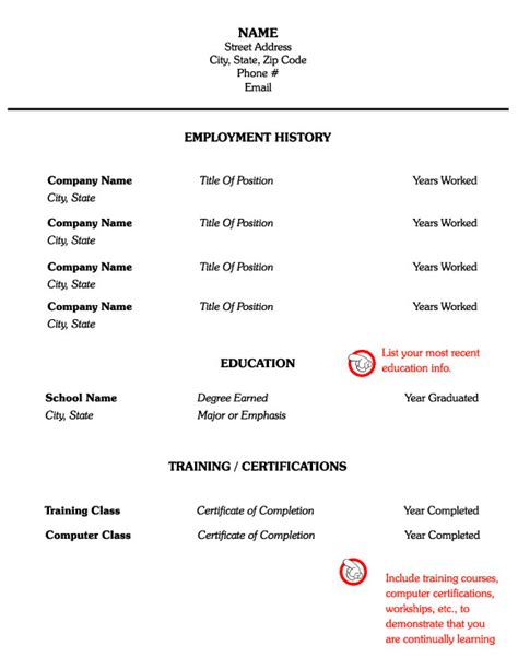 exle of an skill resume