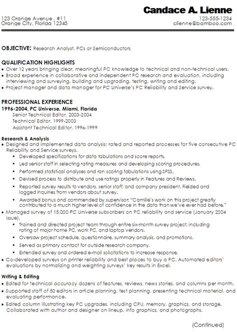 Technical Writer Resume Sles by Resume Technical Writer Research Analyst Pcs Semiconductors