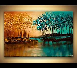 Original, Abstract, Contemporary, Blooming, Trees, Acrylic, Painting