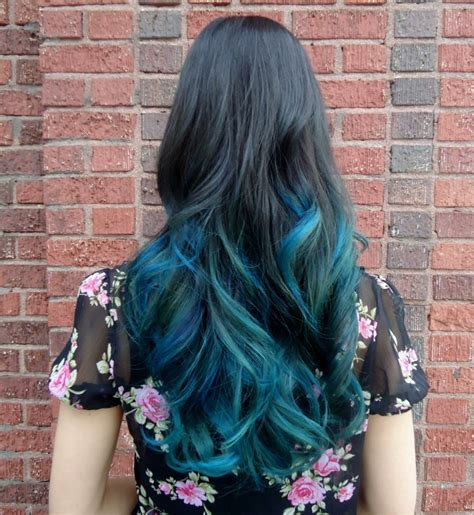 dark hair  teal dip dye hair colors ideas