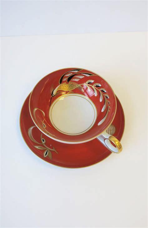 art deco tea  coffee cup  terracotta black  gold