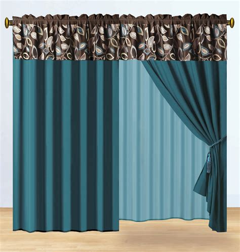 teal and brown curtains 11 pc jacquard embroidery leaf patchwork comforter curtain