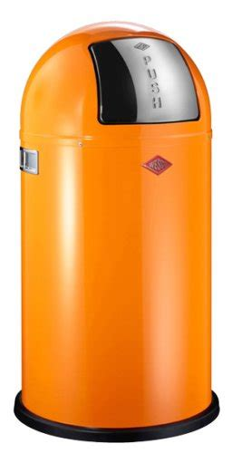 wesco pushboy  litre bin orange  kitchen accessories