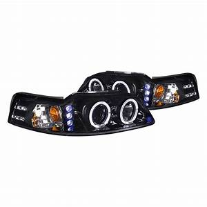 Spec-D® - Ford Mustang 2000 Chrome/Smoke Dual Halo Projector LED Headlights