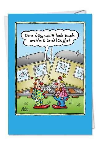 clown crash   greeting card nobleworks